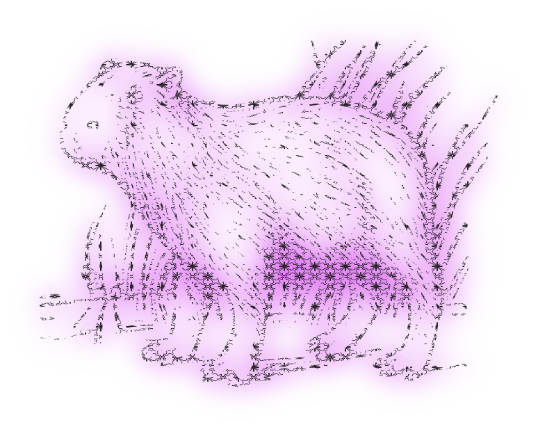 an outline of a capybara made up of characters with a pink glow